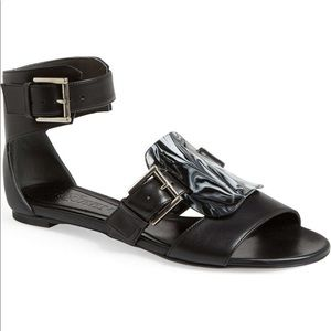 Alexander McQueen Black Leather Sandal 10 40 w box